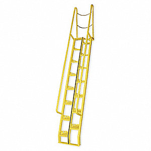 "15-Step Steel Alternating Tread Stairs, Perforated Step Tread, 108"" Top Step Height, 350 lb. Load Ca"