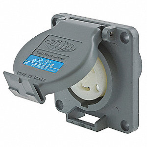 Gray Watertight Locking Receptacle, 30 Amps, 250VAC Voltage, NEMA Configuration: L6-30R