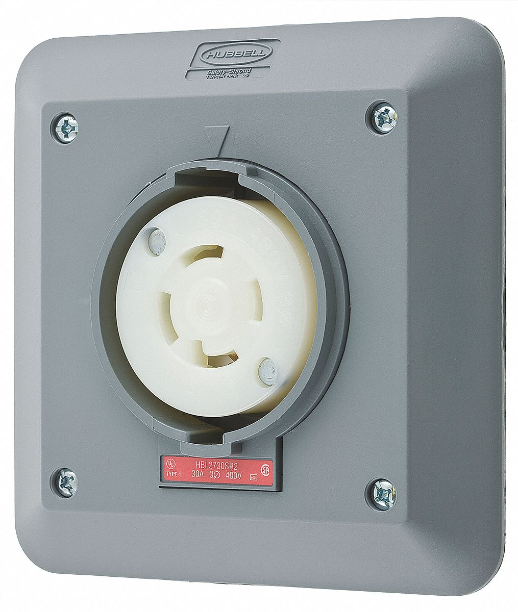 HUBBELL WIRING DEVICE-KELLEMS Gray Locking Receptacle, 30 Amps ...