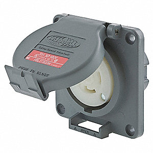 Gray Watertight Locking Receptacle, 30 Amps, 480VAC Voltage, NEMA Configuration: L16-30R