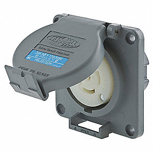 Gray Watertight Locking Receptacle, 30 Amps, 120/208VAC Voltage, NEMA Configuration: L21-30R