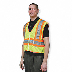 Yellow/Green with Orange/Silver Stripe Traffic Vest, ANSI 2, Dielectric Zipper Closure, 4XL