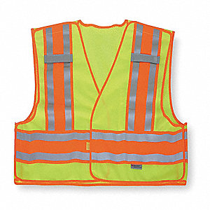 Yellow/Green with Silver Stripe High Visibility Vest, ANSI 2, Hook-and-Loop Closure, 2XL