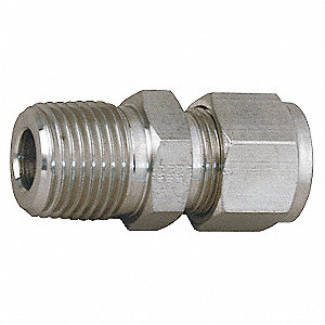 "Thermocouple Connector, 3/8"" Tube Size, 1/4"" Pipe Size - Pipe Fitting, Metal, 5/8"" Hex Size"