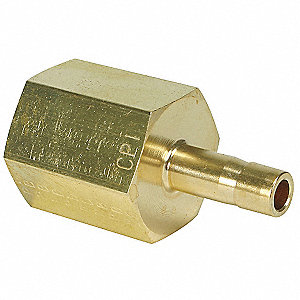 "Female Adapter, 1/4"" Tube Size, 1/4"" Pipe Size - Pipe Fitting, Metal, 3/4"" Hex Size"