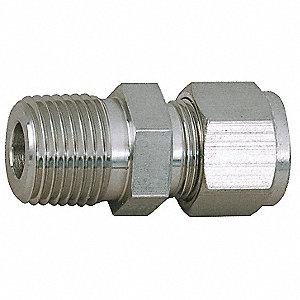 "Male Connector, 1/4"" Tube Size, 1/2"" Pipe Size - Pipe Fitting, Metal, 1-1/16"" Hex Size"