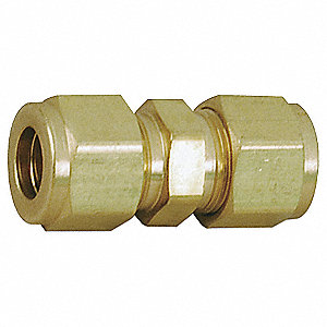 "Reducing Union, 1/4"" x 1/8"" Tube Size, Metal, 1/2"" Hex Size"