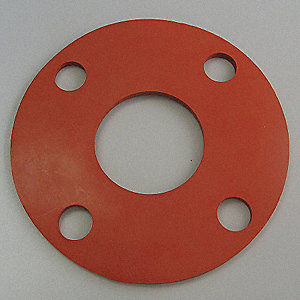"Silicone Flange Gasket, 6"" Outside Dia., Red"