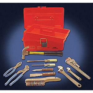 Nonsparking Tool Set,Nonmagnetic, Corrosion Resistant,Number of Pieces 11