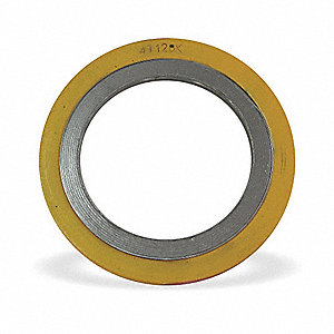 "Carbon Steel Outer Ring with 304SS Winding, Non-Asb Filler Flange Gasket, 5-7/8"" Outside Dia., Yello"