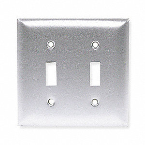 Toggle Switch Wall Plate,2 Gang,Silver
