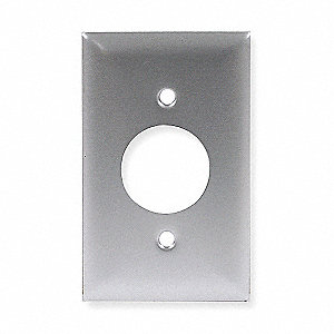 Single Receptacle Wall Plate, Silver, Number of Gangs: 1, Weather Resistant: No