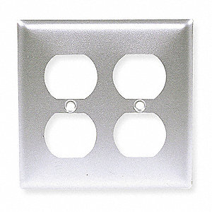 Duplex Receptacle Wall Plate, Silver, Number of Gangs: 2, Weather Resistant: No