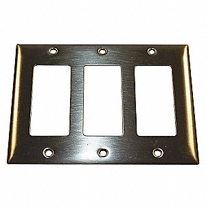 Rocker Wall Plate, Brass, Number of Gangs: 3, Weather Resistant: No