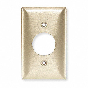 Single Receptacle Wall Plate, Brass, Number of Gangs: 1, Weather Resistant: No