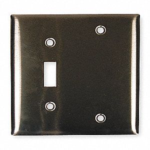 Toggle Switch/Blank Wall Plate, Silver, Number of Gangs: 2, Weather Resistant: No