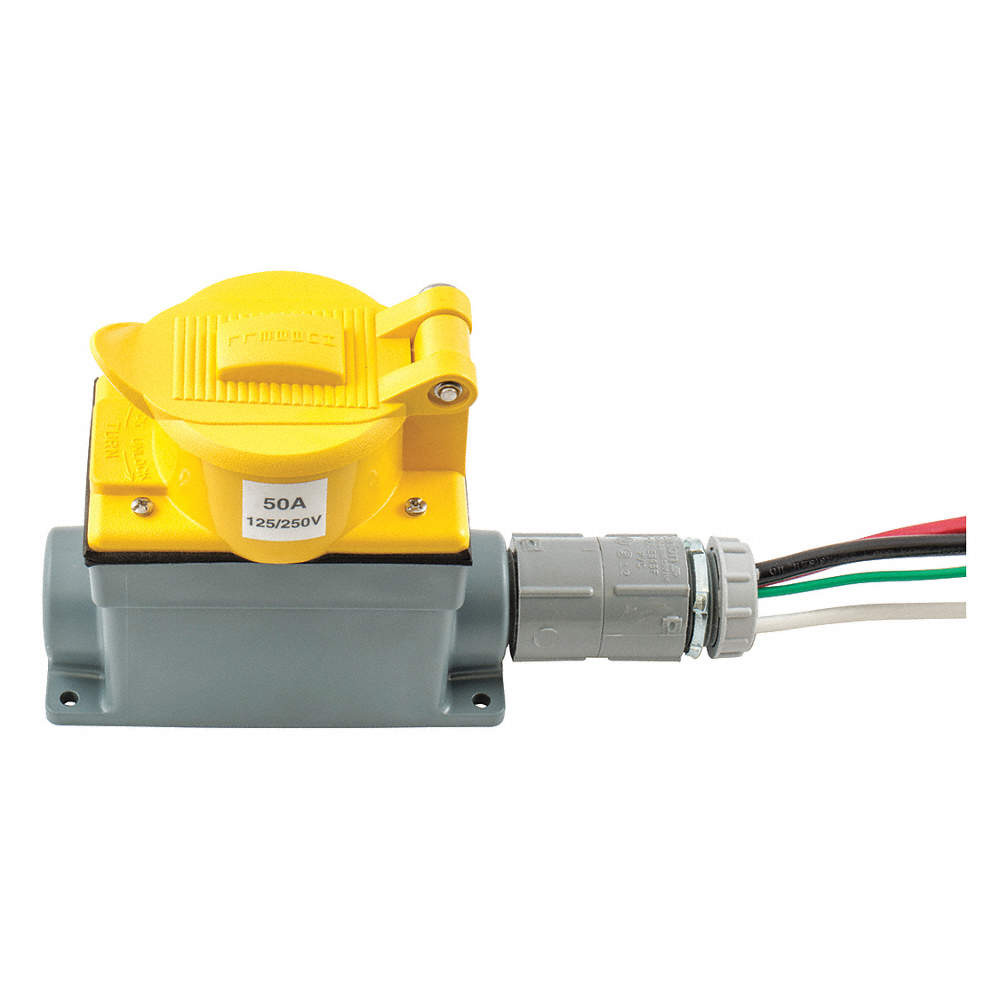 HUBBELL WIRING DEVICE-KELLEMS 50 Amp Prewired Receptacle, 125/250VAC ...
