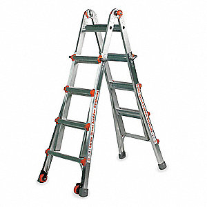 Aluminum Multipurpose Ladder, 7 to 11 ft. Extended Ladder Height, 300 lb. Load Capacity