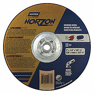 "9"" Type 27 Ceramic Depressed Center Wheels, 5/8""-11 Arbor, 1/4""-Thick, 6600 Max. RPM"
