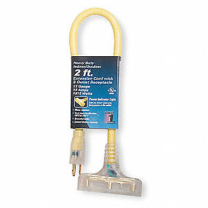 2 ft. Indoor, Outdoor Lighted Extension Cord; Max Amps: 15.0, Number of Outlets: 3, Yellow