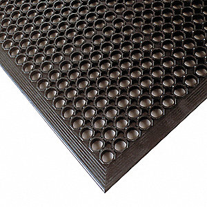 Drainage Mat, Black, 5 ft. x 3 ft., Rubber, 1 EA