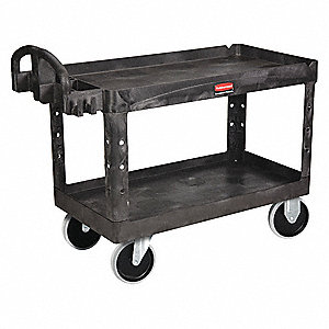"55""L x 26""W Black Utility Cart, 750 lb. Load Capacity, Number of Shelves: 2"