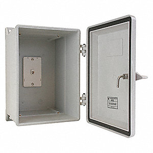 "Weather Resistant Phone Enclosure, Gray, Height 14-39/64"", Width 10-29/32"", Depth 10-1/2"""