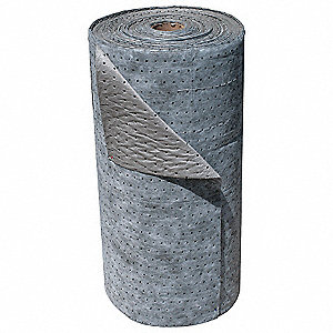 Light, Meltblown Polypropylene Absorbent Roll, Fluids Absorbed: Universal / Maintenance, 300 ft. Len