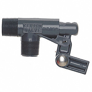 "Pipe-Mount Float Valve with Threaded Outlet, 1/4""-20 Rod Thread, PVC"