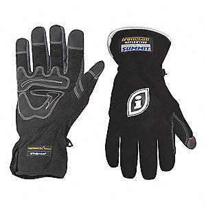 "Cold Protection Gloves, Unlined Lining, 3"", Slip Fit with Hook and Loop Tab Cuff, Black, L, PR 1"