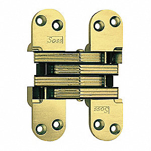 Satin Brass Invisible Hinge, Full Mortise, Heavy Duty, Door Thickness 2""