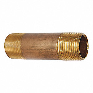 "3/8"" x 6"" Red Brass Nipple, Pipe Nipple"