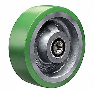 "6"" Caster Wheel, 1200 lb. Load Rating, Wheel Width 2"", Polyurethane, Fits Axle 1/2"""