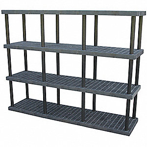 "Freestanding Open Plastic Shelving, 96""W x 24""D x 75""H, 2700 lb. Load Cap., 4 Shelves, Black"