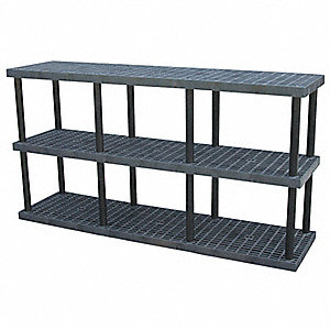 "Freestanding Open Plastic Shelving, 96""W x 24""D x 51""H, 2025 lb. Load Cap., 3 Shelves, Black"