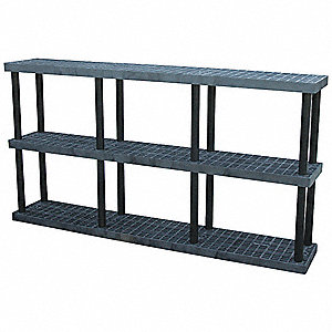 "Freestanding Open Plastic Shelving, 96""W x 16""D x 51""H, 1350 lb. Load Cap., 3 Shelves, Black"