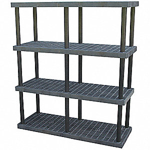 "Freestanding Open Plastic Shelving, 66""W x 24""D x 75""H, 1850 lb. Load Cap., 4 Shelves, Black"