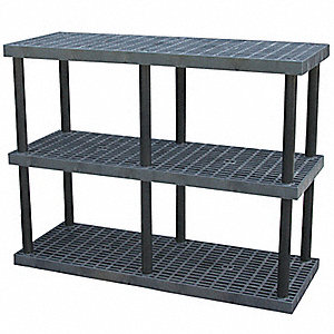 "66"" x 24"" x 51"" Molded HDPE Plastic Bulk Storage Rack, Black&#x3b; Number of Shelves: 3"