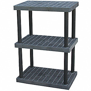 "36"" x 24"" x 51"" Molded HDPE Plastic Bulk Storage Rack, Black&#x3b; Number of Shelves: 3"