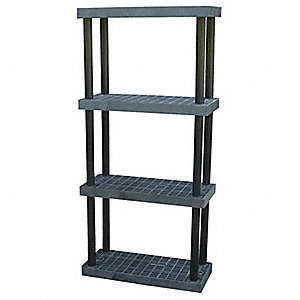 "36"" x 16"" x 75"" Molded HDPE Plastic Bulk Storage Rack, Black&#x3b; Number of Shelves: 4"