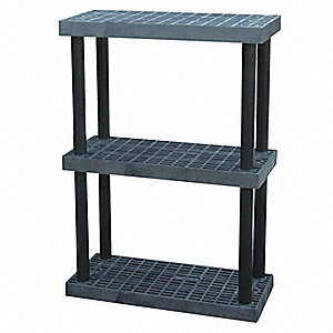 "Freestanding Open Plastic Shelving, 36""W x 16""D x 51""H, 500 lb. Load Cap., 3 Shelves, Black"