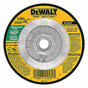 "4-1/2"" x 1/4"" Depressed Center Wheel, Silicon Carbide, 5/8""-11 Arbor Size, Type 27"