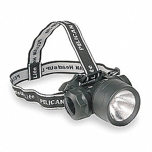Krypton Headlamp, Plastic, 50,000 hr. Lamp Life, Maximum Lumens Output: 18, Black