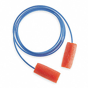29dB Disposable Cylinder Shape Ear Plugs&#x3b; Corded, Orange, Universal