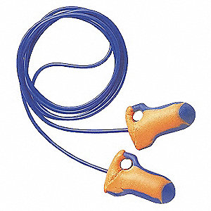 32dB Disposable Contoured Shape Ear Plugs&#x3b; Corded, Orange/Blue, Universal