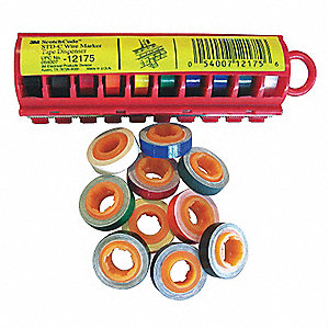 Black, Blue, Brown, Green, Gray, Orange, Red, Violet, White, Yellow Wire Marker Dispenser w/Tape
