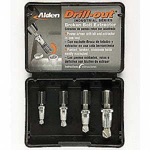 Drill/Extractor Set,4 PC,1/4-1/2 In Cap