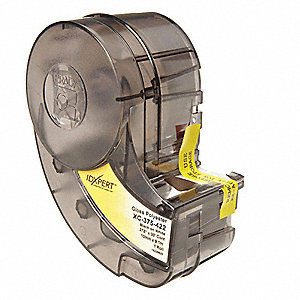 "Black/White Polyester Label Tape Cartridge, Permanent Adhesive Label Type, 30 ft. Length, 19"" Width"