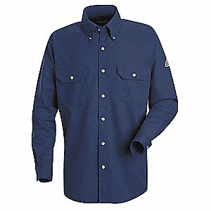 "Navy Flame-Resistant Collared Shirt, Size: LT, Fits Chest Size: 42"" to 44"", 8.4 cal./cm2 ATPV Rating"
