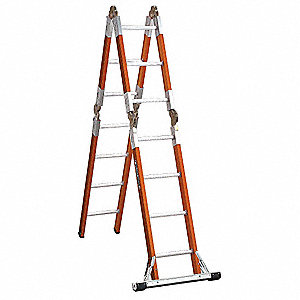 Fiberglass Articulating Ladder, 13 ft. Extended Ladder Height, 300 lb. Load Capacity